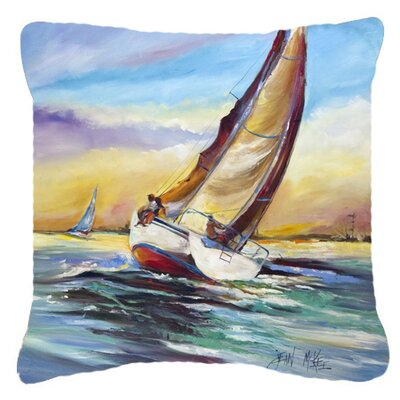 Horn Island Boat Race Sailboats Indoor/Outdoor Throw Pillow Size: 14 H x 14 W x 4 D