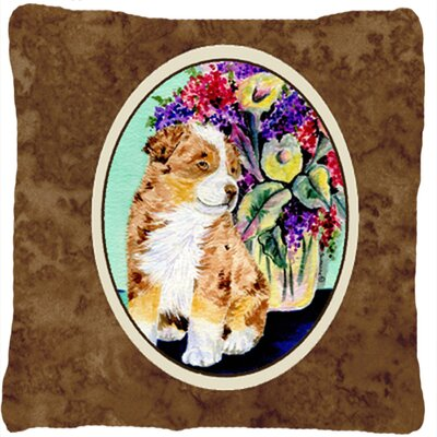 Australian Shepherd and Flower Indoor/Outdoor Throw Pillow
