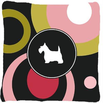 Scottish Terrier Indoor/Outdoor Black/Pink Throw Pillow