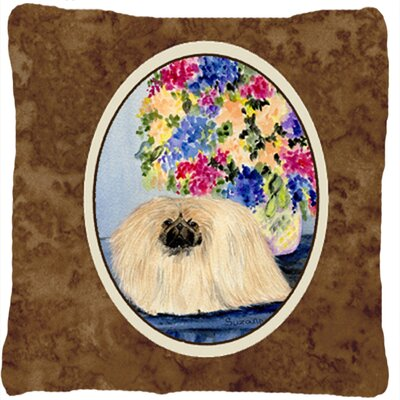 Pekingese Brown Indoor/Outdoor Throw Pillow