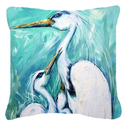 Mothers Love Egret Indoor/Outdoor Throw Pillow Size: 14 H x 14 W x 4 D