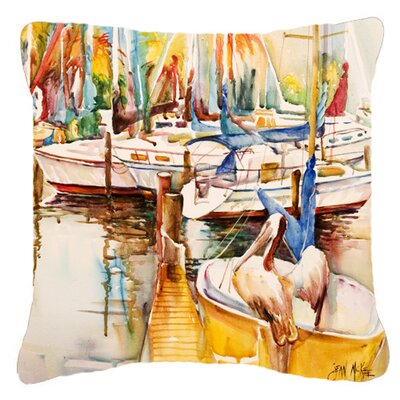 Pelicans and Sailboats Indoor/Outdoor Throw Pillow Size: 14 H x 14 W x 4 D