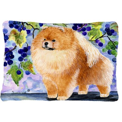 Pomeranian Indoor/Outdoor Rectangular Brown/Purple Throw Pillow