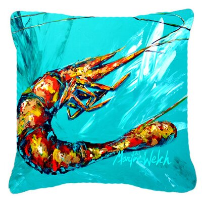 Shrimp Splish Splash Indoor/Outdoor Throw Pillow Size: 18 H x 18 W x 5.5 D