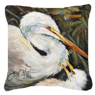 White Egret Indoor/Outdoor Throw Pillow Size: 18 H x 18 W x 5.5 D