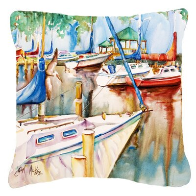 Gazebo and Sailboats Indoor/Outdoor Throw Pillow Size: 14 H x 14 W x 4 D