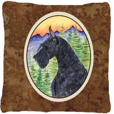 Schnauzer Indoor/Outdoor Brown Throw Pillow