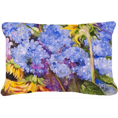 Hydrangeas and Sunflowers Indoor/Outdoor Throw Pillow