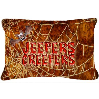 Jeepers Creepers with Bat and Spider Web Halloween Indoor/Outdoor Throw Pillow