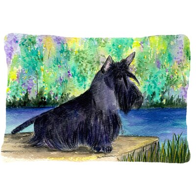 Scottish Terrier Indoor/Outdoor Green/Black Throw Pillow