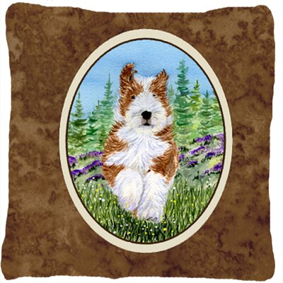 Bearded Collie Brown Indoor/Outdoor Throw Pillow