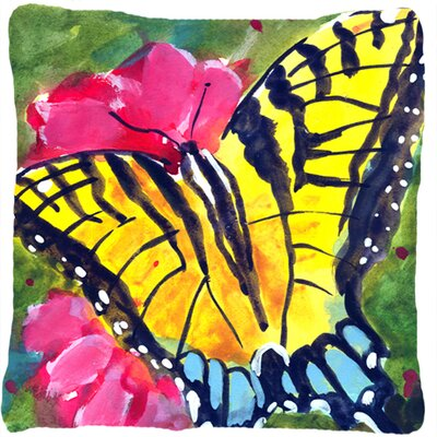 Butterfly Indoor/Outdoor Yellow/Pink Throw Pillow
