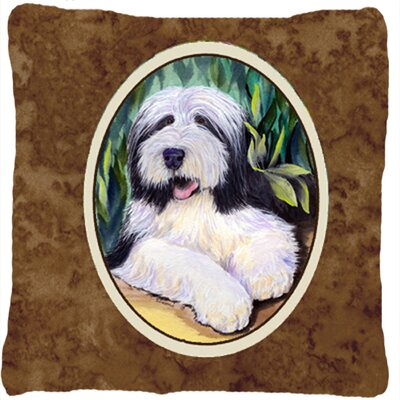 Bearded Collie Indoor/Outdoor Brown Throw Pillow
