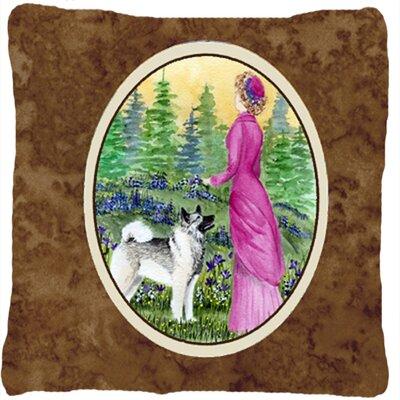 Lady with Her Norwegian Elkhound Indoor/Outdoor Throw Pillow