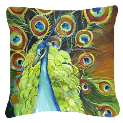 Peacock Indoor/Outdoor Throw Pillow Size: 14 H x 14 W x 4 D