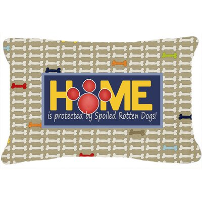 Home Is Protected By Spoiled Rotten Dogs Indoor/Outdoor Throw Pillow
