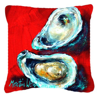 Open Up Oyster Indoor/Outdoor Throw Pillow Size: 18 H x 18 W x 5.5 D
