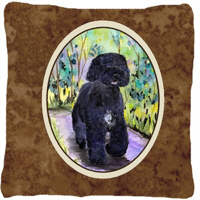 Portuguese Water Dog Brown Indoor/Outdoor Throw Pillow