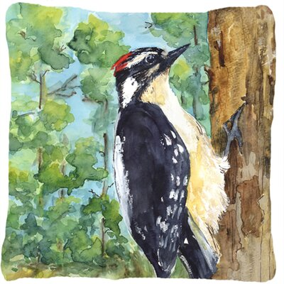 Downy Woodpecker Indoor/Outdoor Throw Pillow