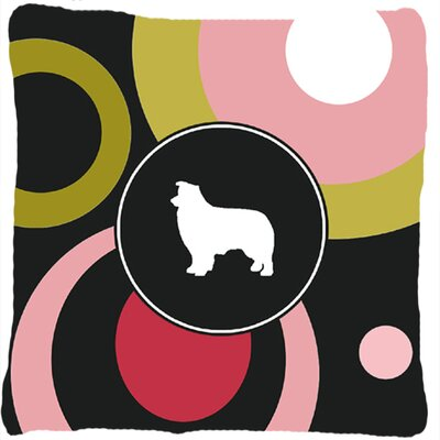 Border Collie Polka Dots Square Indoor/Outdoor Throw Pillow