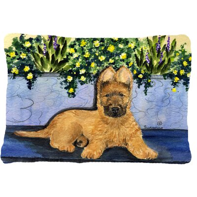 Briard and Yellow Flower Indoor/Outdoor Throw Pillow
