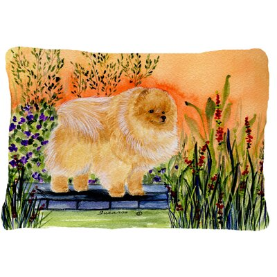 Pomeranian Indoor/Outdoor Rectangular Orange/Green Throw Pillow