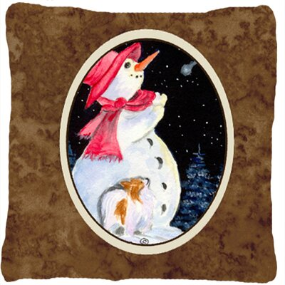 Snowman with Papillion Indoor/Outdoor Throw Pillow