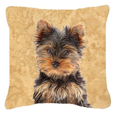 Yorkie Puppy/ Yorkshire Terrier Indoor/Outdoor Throw Pillow Size: 14 H x 14 W x 4 D