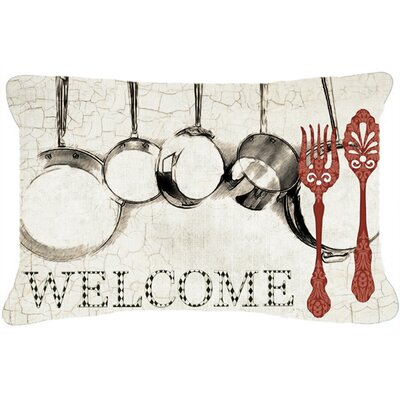 Pots and Pans Welcome Indoor/Outdoor Throw Pillow