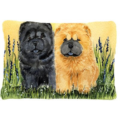 Chow Chow Indoor/Outdoor Rectangular Brown/Black/Green Throw Pillow