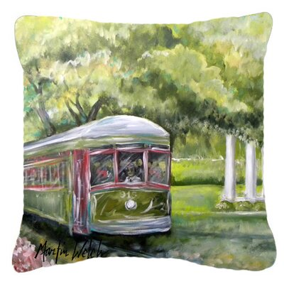 Streetcar Next Stop Audubon Park Square Indoor/Outdoor Throw Pillow Size: 14 H x 14 W x 4 D
