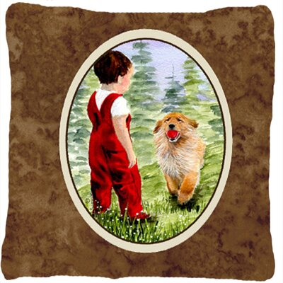 Little Boy with His Golden Retriever Indoor/Outdoor Throw Pillow