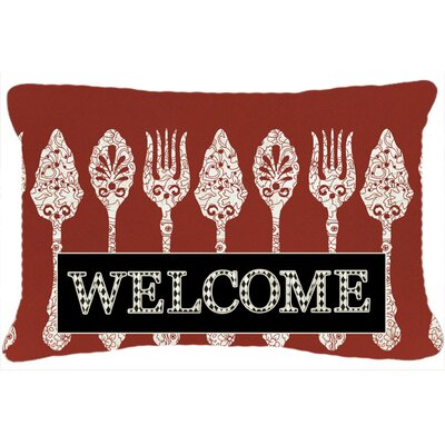 Serving Spoons Welcome Indoor/Outdoor Throw Pillow