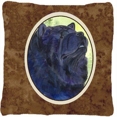 Chow Chow Indoor/Outdoor Brown/Blue Throw Pillow