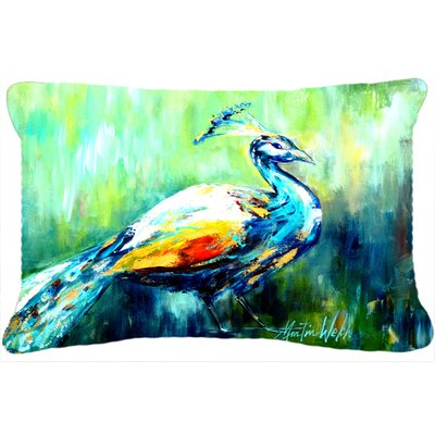 Proud Peacock Green Indoor/Outdoor Throw Pillow