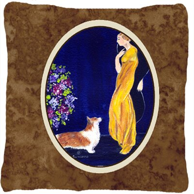 Lady with Her Corgi Indoor/Outdoor Throw Pillow
