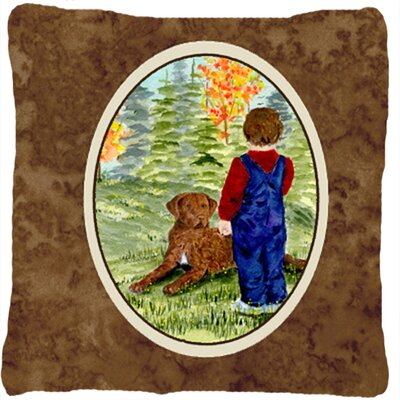 Little Boy with His Chesapeake Bay Retriever Indoor/Outdoor Throw Pillow
