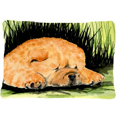 Chow Chow Rectangular Brown/Green Indoor/Outdoor Throw Pillow