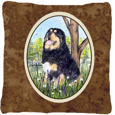 Tibetan Mastiff Indoor/Outdoor Brown Throw Pillow
