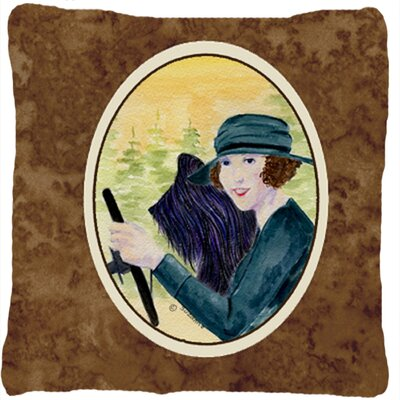 Lady Driving with Her Briard Indoor/Outdoor Throw Pillow