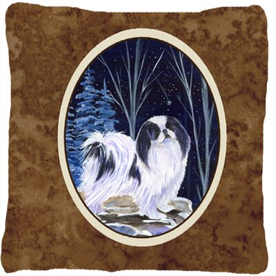Starry Night Japanese Chin Indoor/Outdoor Throw Pillow