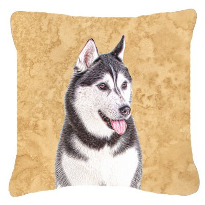 Alaskan Malamute Indoor/Outdoor Beige/Gray Throw Pillow Size: 14 H x 14 W x 4 D