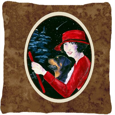 Lady Driving with Her Rottweiler Indoor/Outdoor Throw Pillow