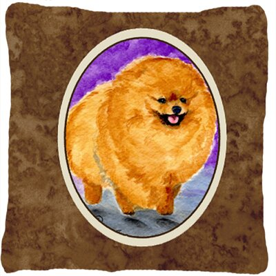 Pomeranian Indoor/Outdoor Square Brown Throw Pillow