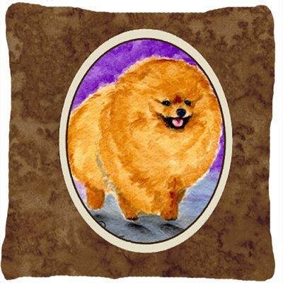 Pomeranian Indoor/Outdoor Square Brown Throw Pillow