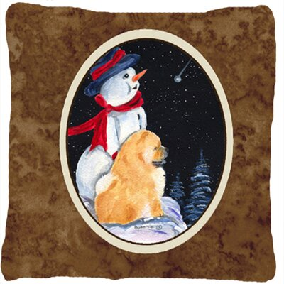 Snowman with Chow Chow Indoor/Outdoor Throw Pillow