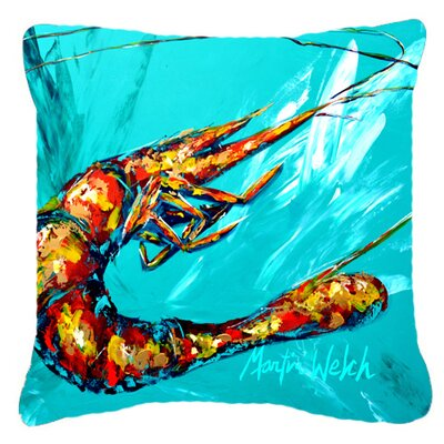 Shrimp Teal Shrimp Indoor/Outdoor Throw Pillow Size: 14 H x 14 W x 4 D