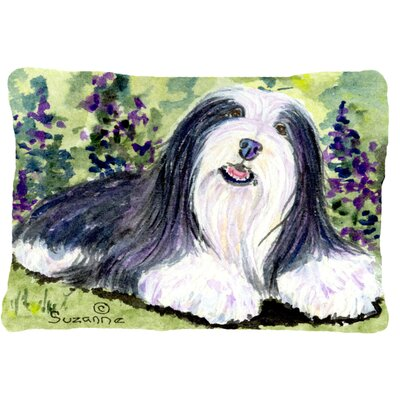 Bearded Collie Indoor/Outdoor Rectangular Black/Green Throw Pillow