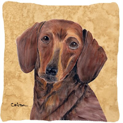 Dachshund Indoor/Outdoor Brown Throw Pillow