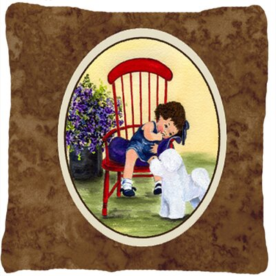 Little Girl with Her Bichon Frise Indoor/Outdoor Throw Pillow